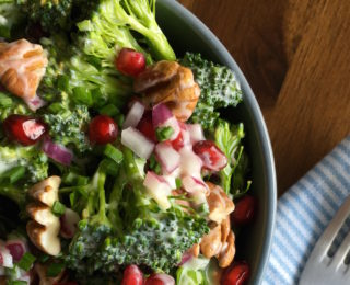 Broccoli Salad with Pomegranate & Pecan Nuts