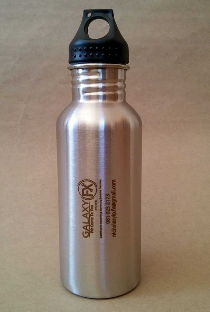Engraved metal water bottle for Galaxy FX