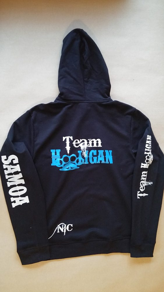 Hoodie with heat transfer branding