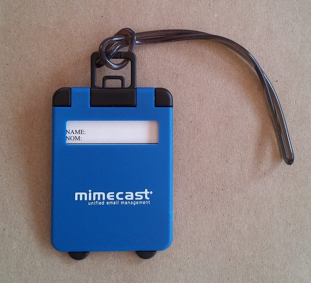 Pad printed luggage tag for Mimecast