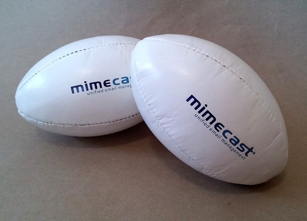 Pad printed mini rugby balls for Mimecast