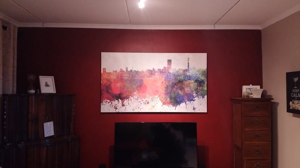 Watercolour-Joburg-skyline-printed-on-canvas-and-stretched-onto-box-frame