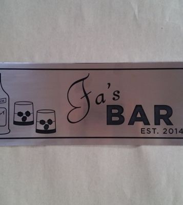 Etched Stainless Steel Sign With Black Fill Detail