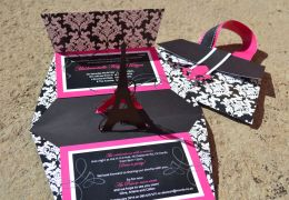 Handmade Eiffel Tower Pop Up Invitation