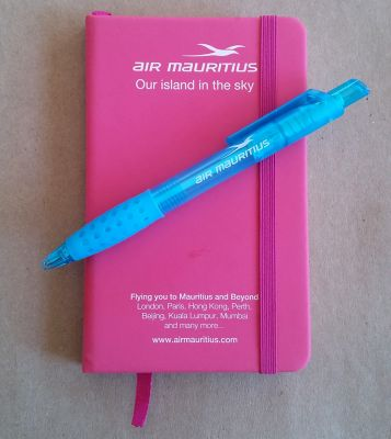 Pad printed pen and notebook for Air Mauritius