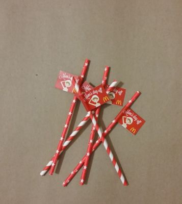 Paper Straws With Custom Message Flags For Event Branding