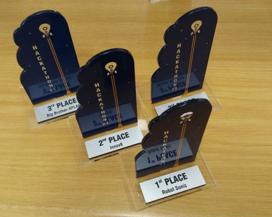 Screen Printed Perspex Trophies With Engraved Rowmark Plaque