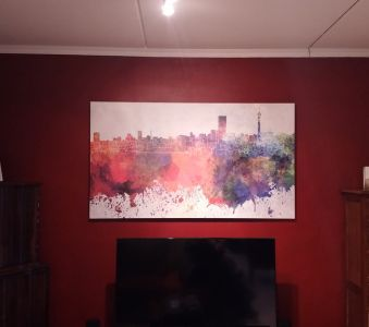 Watercolour Joburg Skyline Printed On Canvas And Stretched Onto Box Frame
